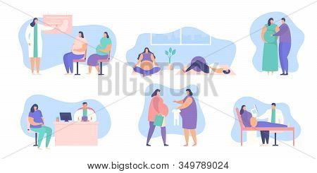 Pregnant Woman Vector Illustration Set Isolated On White Collection. Pregnant Women In Fitness And P