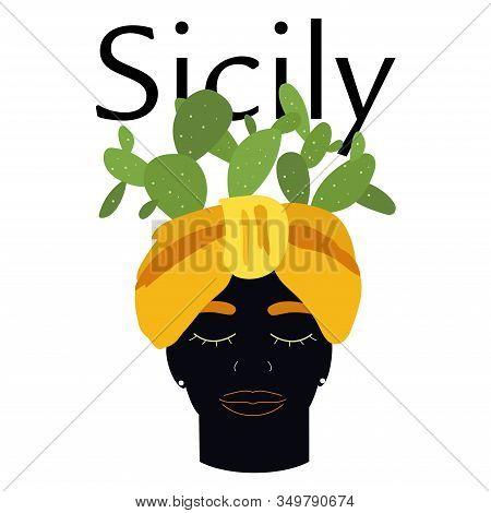 Traditional Sicilian Vase With Moor Head And Cacti. Moorish, Planter Head. Italy, Sicily. Vector Ill