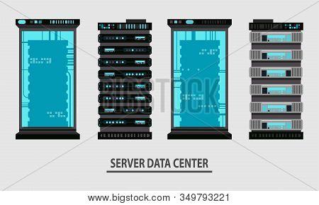 Set Of Various Cartoon Server Racks, Server Rack Room Collection Of Lelements For Design Flat Vector