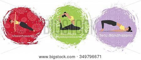 Hatha Yoga Training Set Vector Illustration In Flat Style. Young Attractive Girl In Sportswear Pract