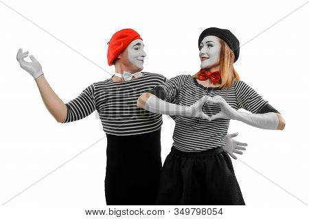 Romantic Scene Of Two Mimes. Male And Female Mime Actors