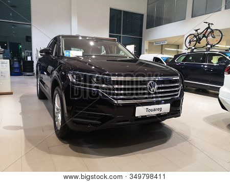 Front View Of German Volkswagen Touareg Suv At Volkswagen Motor Show February 05, 2020 In Russia, Ka