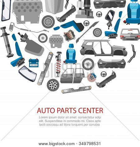 Car Spares And Auto Parts Service Vector Illustration. Auto Diagnostics Test Service, Protection Ins