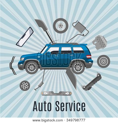 Auto Service And Car Spares Top View Vector Illustration. Auto Diagnostics Test Service, Protection