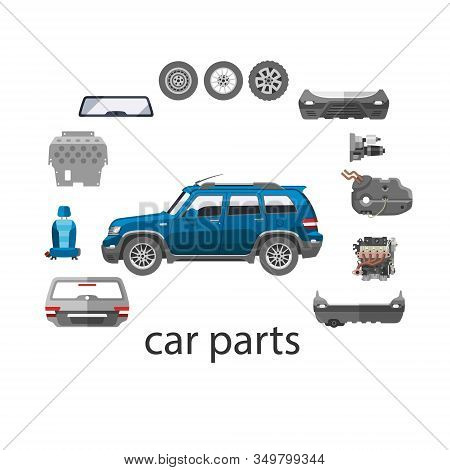Car Spares And Parts Top View Vector Illustration Isolated On White. Repair Help With Car Parts For