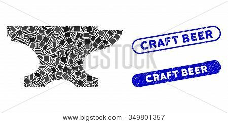 Collage Forge Icon And Red Round Distressed Stamp Seal With Craft Beer Phrase And Coronavirus Symbol