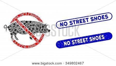 Mosaic No Swine Icon And Red Round Distressed Stamp Seal With No Street Shoes Phrase And Coronavirus