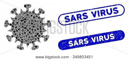 Mosaic Sars Virus Icon And Red Round Distressed Stamp Seal With Sars Virus Text And Coronavirus Symb