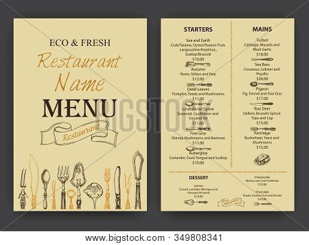 Vector Illustration Sketch - Vintage Menu. Cover For Restaurant Menu.