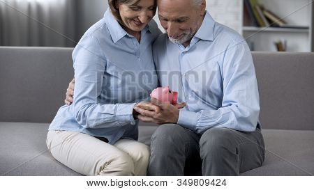 Smiling Retiree Couple Sitting On Couch Holding Piggy Bank, Crediting Service