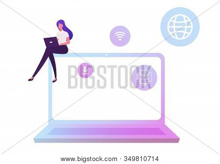 Businesswoman Working On Laptop Using Wifi Connection For Research Information, Download Files From