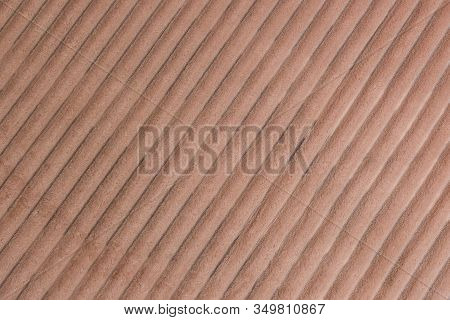 Beige Monochromatic Vertical Lines Textured Background. Close-up Of Natural Warm Coverlet, Wrap, Cov