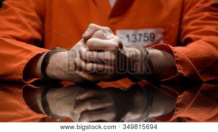 Prisoner In Handcuffs Clenching Fists, Denying Quilt, Interrogation Room
