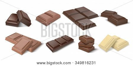 Chocolate Pieces. Realistic Dark Bars And Chunks Of Milky Chocolate, 3d Blocks Of Cocoa Dessert. Vec