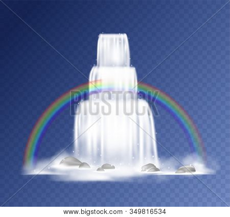 Waterfall. Realistic Falling Water With Fog, Splashes, Mountain Rocks And Rainbow. Vector Cartoon Fr
