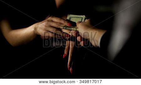 Businessman In Car Giving Money To Prostitute, Illegal Sex Trade, Female Escort