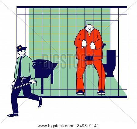 Prisoner In Prison Jail Concept. Policeman With Stick Passing By Man In Orange Jumpsuit Stand In Cel