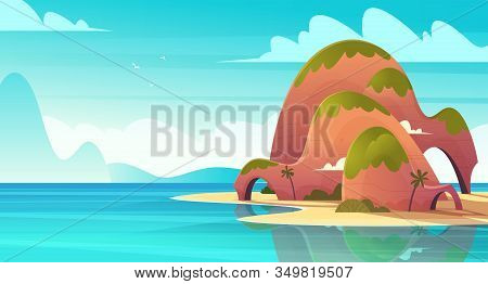Tropical Island In The Pacific Ocean Or Calm Blue Sea. Empty Mountain Hill With A Sandy Beach In The