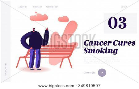 Smoking Addiction Bad Unhealthy Habit Website Landing Page. Male Character Smoking Cigarette Near Be