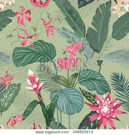 Seamless Floral Tropical Print With Exotic Flowers Guzmania Orchid Blossoms, Jungle Leaves On Green