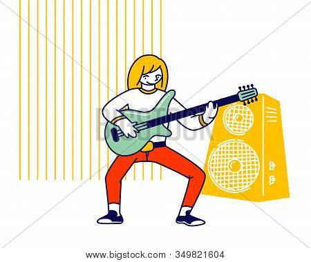 Girl Musician Practicing Playing Electric Guitar During Lesson In Musical School Prepare To Music Co