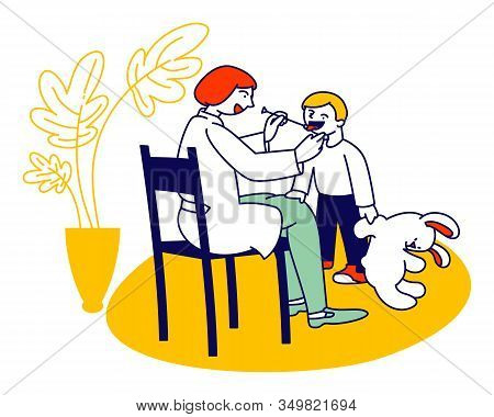 Doctor Logopedist Working With Little Boy Having Speech Pronunciation Problems Looking On Tongue Of