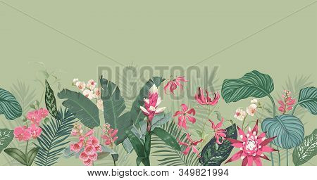 Seamless Tropical Floral Print With Exotic Flowers Guzmania Orchid Blossoms, Jungle Fern Leaves On G