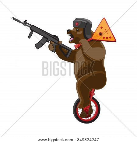 A Bear Rides A Unicycle With A Balalaika And A Machine Gun In His Hands On A White Isolated Backgrou