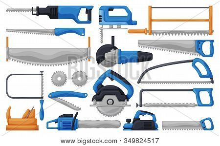 Saw Of Blade Vector Cartoon Set Icon. Vector Illustration Carpentry Tool On White Background .isolat