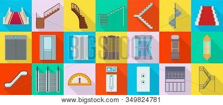 Staircase And Lift Vector Flat Set Icon.vector Illustration Stair And Escalator.isolated Flat Icon W