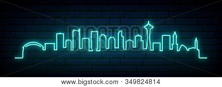 Blue Neon Skyline Of Seattle City. Bright Seattle Long Banner. Vector Illustration.