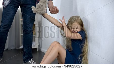 Cruel Father Intimidating And Beating Helpless Little Daughter Assault In Family