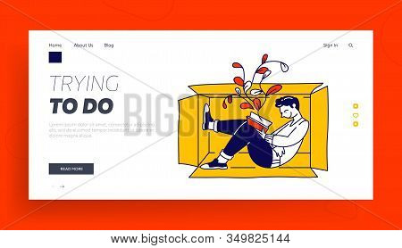 Social Anxiety Website Landing Page. Lonely Introvert Man Sitting Inside Of Box Reading Book. Mental