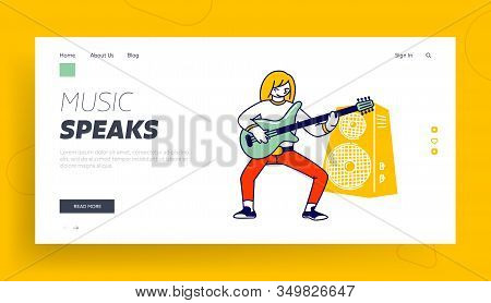 Girl Musician Practicing Playing Electric Guitar Website Landing Page. Lesson In Musical School Or S