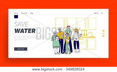 Healthy Lifestyle, People Thirsty Website Landing Page. Big Happy Family Of Parents, Grandparents An