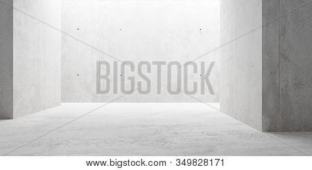 Abstract Empty, Modern Concrete Room With Indirect Lighting From Side Wall And Rough Floor - Industr