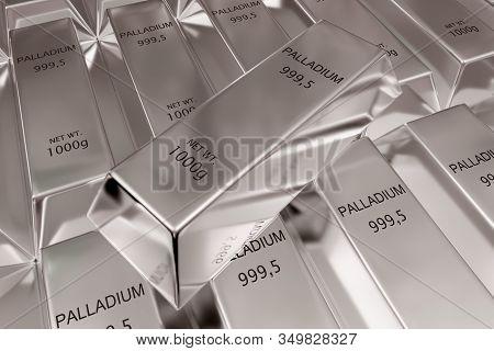 Single Palladium Ingot On Stacked Rows Of Shiny Palladium Ingots Or Bars Background - Precious Metal