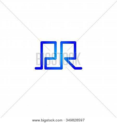 Geometric Pr Icon, Public Relations Blue Vector Connected Letters, Color Logo