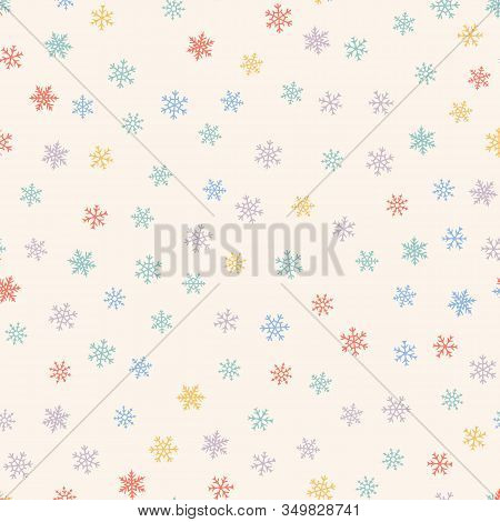 Winter Seamless Pattern. Christmas Background With Small Colored Snowflakes. Elegant Vector Texture.