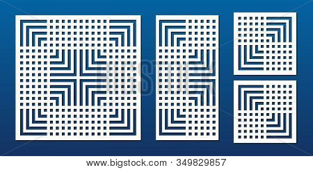 Laser Cut Panels. Abstract Geometric Pattern With Lines, Squares, Stripes, Grid. Elegant Decorative