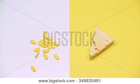 Cheese And Pills, Pasteurized Products With Organic Bacteria, Lactose, Macro