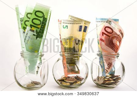 Glass Jars Filled With Coins And Euro Bills, Savings, Money, Ank Money, Crisis, Cash, Banknotes, Coi