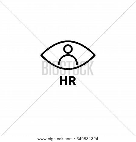 Hr Logo, Eye And Person, Staff Search Symbol, Vector Line Black Icon Human Resources