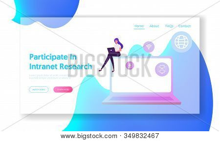 Intranet Communication Network Website Landing Page. Businesswoman Working On Laptop Using Wifi Conn