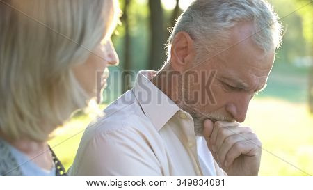 Pensive Retired Man Thinking Over Life Difficulties, Hard Life Of Pensioners