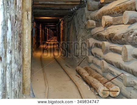Mine Tunnel Detail Underground In Wieliczka Poland