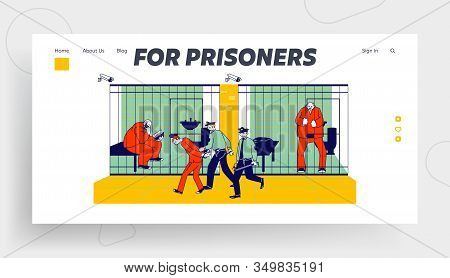 Prisoners In Prison Jail And Policemen Website Landing Page. People In Orange Jumpsuits In Cell. Arr