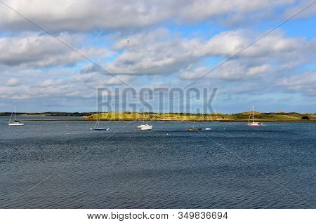 Lot Of Small Boats On The Sea Near Malahide City View Dublin Ireland