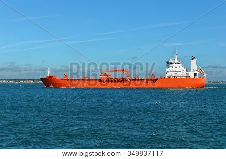 Red And White Tanker On The Sea