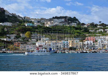 Capri Port Landscape Island And Hills In Italy